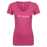Next Level Ladies Junior Fit Ideal V Pink Tee-St Benedicts Wordmark