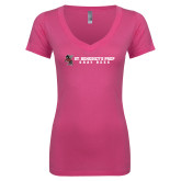 Next Level Ladies Junior Fit Ideal V Pink Tee-Gray Bee Logo