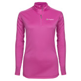 Ladies Syntrel Interlock Raspberry 1/4 Zip-St Benedicts Wordmark
