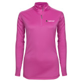 Ladies Syntrel Interlock Raspberry 1/4 Zip-Gray Bee Logo