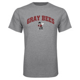 Grey T Shirt-Gray Bees Arched with Fighting Bee