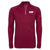 Under Armour Maroon Tech 1/4 Zip Performance Shirt-Athletic Wordmark