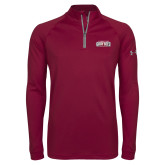 Under Armour Maroon Tech 1/4 Zip Performance Shirt-Gray Bee Logo