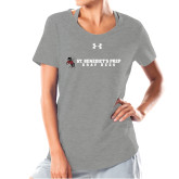Ladies Under Armour Grey Charged Cotton Tee-Gray Bee Logo