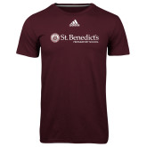 Adidas Climalite Maroon Ultimate Performance Tee-St Benedicts Wordmark