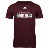Adidas Climalite Maroon Ultimate Performance Tee-Gray Bee Logo