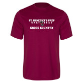 Performance Maroon Tee-Cross Country Gray Bee Logo Bee in Middle