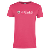Ladies Fuchsia T Shirt-St Benedicts Wordmark