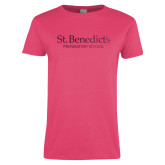 Ladies Fuchsia T Shirt-St Benedicts Secondary Wordmark Foil
