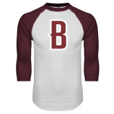 White/Maroon Raglan Baseball T Shirt-B Mark