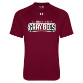 Under Armour Maroon Tech Tee-Gray Bee Logo