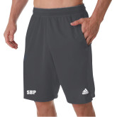 Adidas Charcoal Clima Tech Pocket Short-Athletic Wordmark