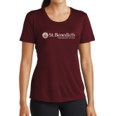 Ladies Performance Maroon Tee-St Benedicts Wordmark