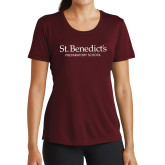 Ladies Performance Maroon Tee-St Benedicts Secondary Wordmark