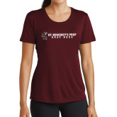 Ladies Performance Maroon Tee-Gray Bee Logo