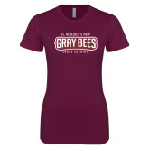 Next Level Ladies SoftStyle Junior Fitted Maroon Tee-Cross Country