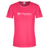 Ladies Performance Hot Pink Tee-St Benedicts Wordmark