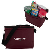 Six Pack Maroon Cooler-Gray Bee Logo Bee in Middle