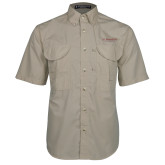 Khaki Short Sleeve Performance Fishing Shirt-St Benedicts Secondary Wordmark