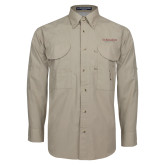 Khaki Long Sleeve Performance Fishing Shirt-St Benedicts Secondary Wordmark