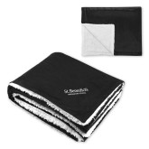 Super Soft Luxurious Black Sherpa Throw Blanket-St Benedicts Secondary Wordmark