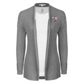 Ladies Heather Grey Open Front Cardigan-St Benedicts Prep Gray Bees