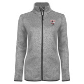 Grey Heather Ladies Fleece Jacket-St Benedicts Prep Gray Bees