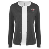 Ladies Charcoal Cardigan-St Benedicts Prep Gray Bees