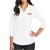 Ladies Red House White 3/4 Sleeve Shirt-Gray Bee Logo