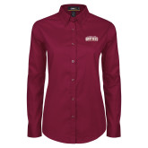 Ladies Maroon Twill Button Down Long Sleeve-Gray Bee Logo