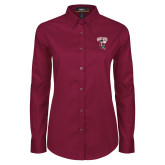 Ladies Maroon Twill Button Down Long Sleeve-St Benedicts Prep Gray Bees