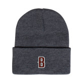 Grey Knit Beanie w/Cuff-B Mark