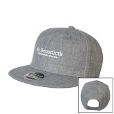 Heather Grey Wool Blend Flat Bill Snapback Hat-St Benedicts Secondary Wordmark