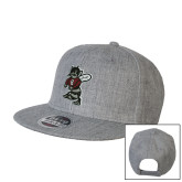 Heather Grey Wool Blend Flat Bill Snapback Hat-Fighting Bee