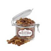 Deluxe Nut Medley Small Round Canister-St Benedicts Wordmark