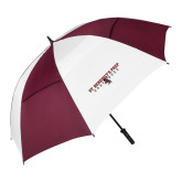 62 Inch Maroon/White Vented Umbrella-Gray Bee Logo Bee in Middle