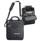 Kenneth Cole Black Vertical Checkpoint Friendly Messenger-Gray Bee Logo No Bee