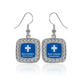 Crystal Studded Square Pendant Silver Dangle Earrings-Southern Seminary Vertical