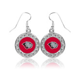 Crystal Studded Round Pendant Silver Dangle Earrings-Bulldog Head