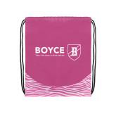Nylon Zebra Pink/White Patterned Drawstring Backpack-Boyce Primary Mark