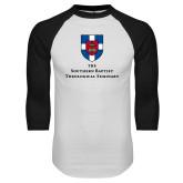 White/Black Raglan Baseball T Shirt-Primary Mark Vertical
