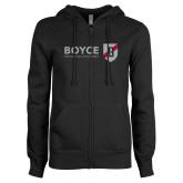 ENZA Ladies Black Fleece Full Zip Hoodie-Boyce Primary Mark