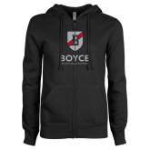 ENZA Ladies Black Fleece Full Zip Hoodie-Boyce Primary Mark Vertical