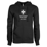 ENZA Ladies Black Fleece Full Zip Hoodie-Southern Seminary Alumni