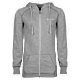 ENZA Ladies Grey/Black Marled Full Zip Hoodie-Primary Mark