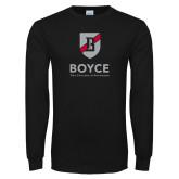 Black Long Sleeve T Shirt-Boyce Primary Mark Vertical