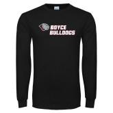 Black Long Sleeve T Shirt-Boyce Bulldogs w Bulldog Head
