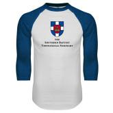 White/Royal Raglan Baseball T Shirt-Primary Mark Vertical