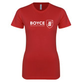 Next Level Ladies SoftStyle Junior Fitted Red Tee-Boyce Primary Mark