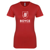 Next Level Ladies SoftStyle Junior Fitted Red Tee-Boyce Primary Mark Vertical